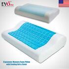 Memory Foam White Bed Pillow Blue Cooling Comfort Gel Orthopedic Sleep