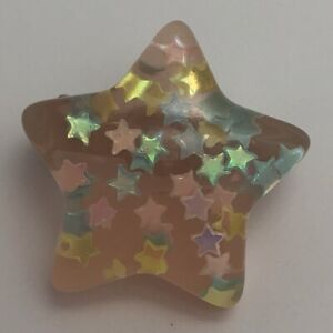 Color de rosa caliente estrella grande Broche Pin Insignia de resina encantos de brillo G010 Kitsch Divertido