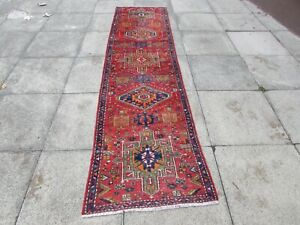 Antique-Worn-Traditional-Hand-Made-Oriental-Red-Green-Wool-Long-Runner-302x86cm