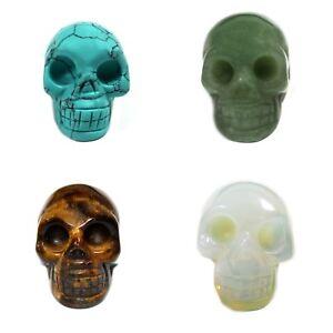 Gemstone Carved Punk Skeleton Skull Statue Home Office Decoration Ornament
