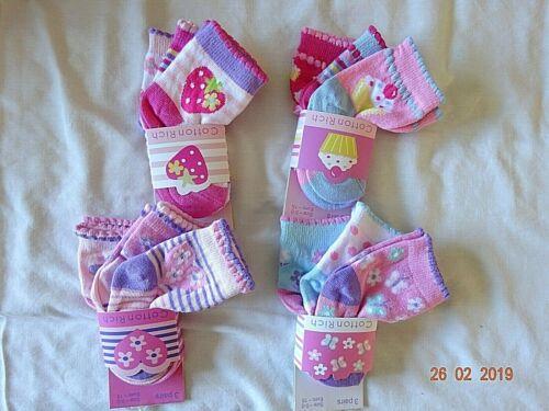 CHILD/'S BABY GIRLS 3 PAIR//PACK MIX SOCKS UK 00 EUR-15 KIDS DESIGNS 0-6 Months