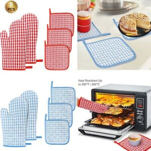 5-pack-Kitchen-Oven-Mitt-and-Pot-Holders-Heat-Resistant-Potholders-Hot-Pads-Mats
