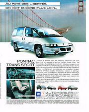 PUBLICITE  ADVERTISING  1991 GENARAL MOTORS   PONTIAC TRANS SPORT