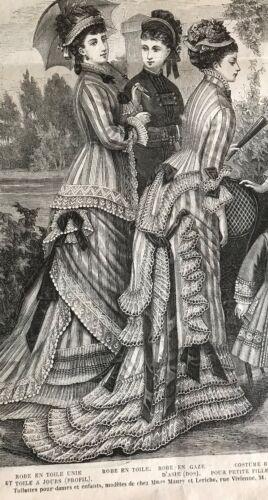 FICHU MODE ILLUSTREE SEWING PATTERN  July 1st,1877 GAZE DRESS MANTELET