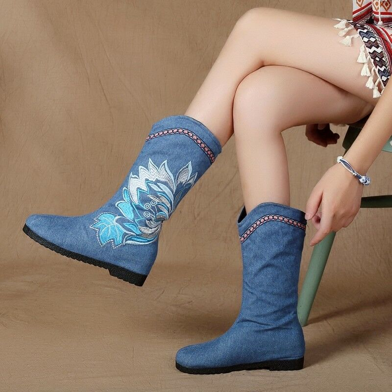 Women Increase Low Heels Ethnic Style Embroidery Flower Fashion Style Boots 2019