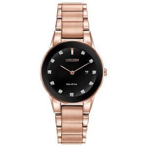 Citizen-Eco-Drive-Women-039-s-GA1058-59Q-Axiom-Diamond-Pink-Gold-Tone-30mm-Watch
