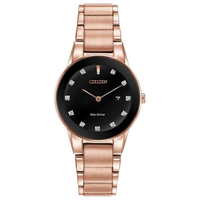 Citizen Eco-Drive Women's GA1058-59Q Axiom Diamond Pink Gold-Tone 30mm Watch