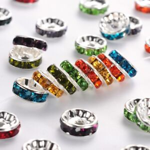 100pcs Nickel Free Brass Rhinestone Spacer Beads Rondelle Mixed Color 10*10*4mm