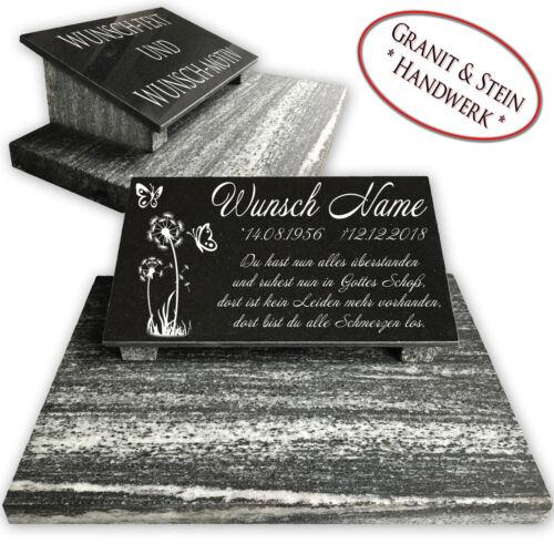Grabstein Granit mit Stützen /& Bodenplatte Grabplatte Tiergrabstein 40x30 DSB1