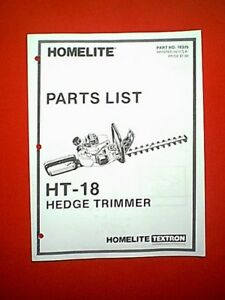 homelite model ht 18 gas hedge trimmer parts manual ebay rh ebay com homelite ht-21 hedge trimmer manual homelite mightylite hedge trimmer manual