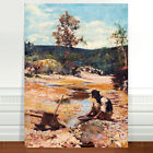 """Classic Australian Fine Art ~ CANVAS PRINT 32x24"""" Walter Withers Gold Panning"""