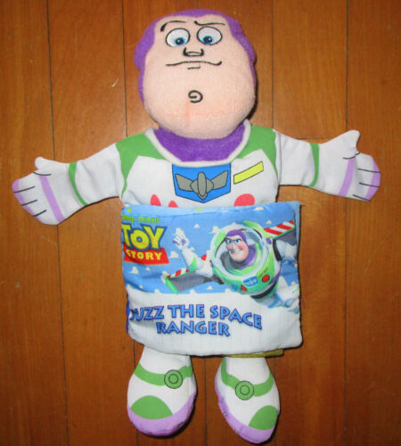 """Buzz Lightyear Hand Puppet Soft Fabric Book Toy Story 12"""" Storybook Pillow"""