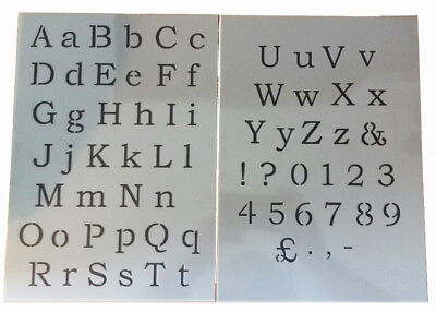 Alphabet plastic stencil sheet letter /& numbers vintage shabby chic old french