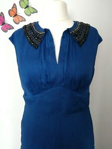 Monsoon-Petrol-Blue-black-beaded-Collar-Dress-UK-18-fit-flare-layer-party