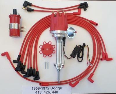 small cap 1959-72 DODGE 383 400 RED HEI Distributor 45K Red Coil Plug Wires