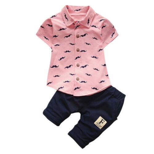 Summer Toddler Baby Kids Boy Shirt Tops+Pants Gentleman Outfits Clothes Set VTP
