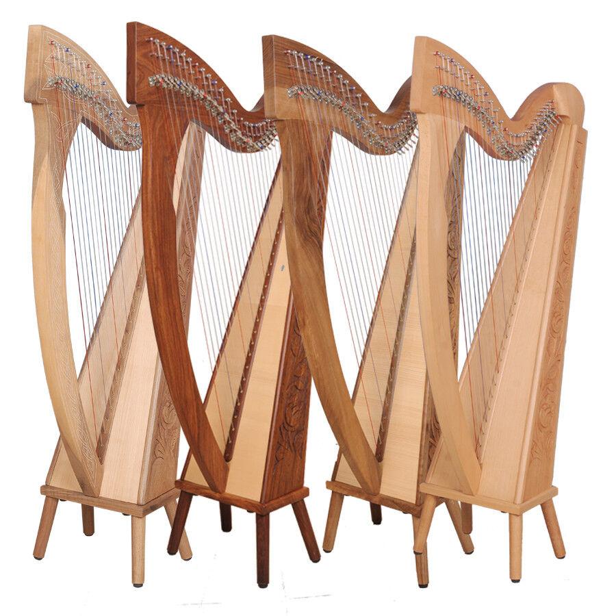 Muzikkon 29 String Trinity & Boru Harp, Celtic Irish Harp, Irish lever Harp