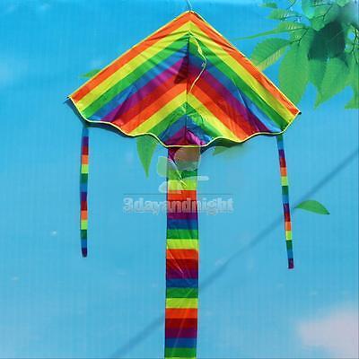 Rainbow Triangle Kite Outdoor Children kids Fun Sports Kids Toys Gift Air Fly