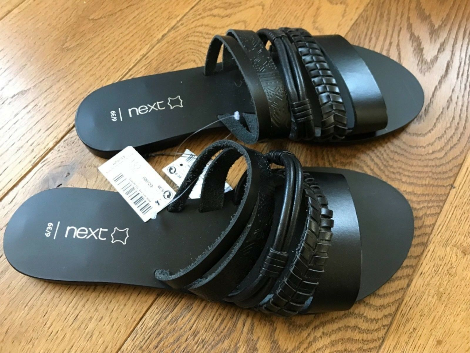 BNWT NEXT BLACK LEATHER TRIBAL DESIGN 6, SLIP ON SANDALS SIZES 6, DESIGN 6.5, 8, 3.5 d9599a