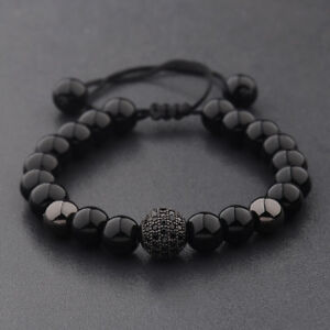 Charm-Men-039-s-Bright-Zircon-Micro-Pave-Black-Natural-Stone-Round-Beaded-Bracelets