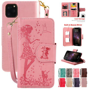 For-iPhone-11-11-Pro-Max-Magnetic-Leather-Flip-Stand-Card-Wallet-Case-w-Mirror