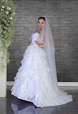 "White/Ivory Wedding Prom Bridal Satin Edge 2 Tier Veil Knee Length 70"""