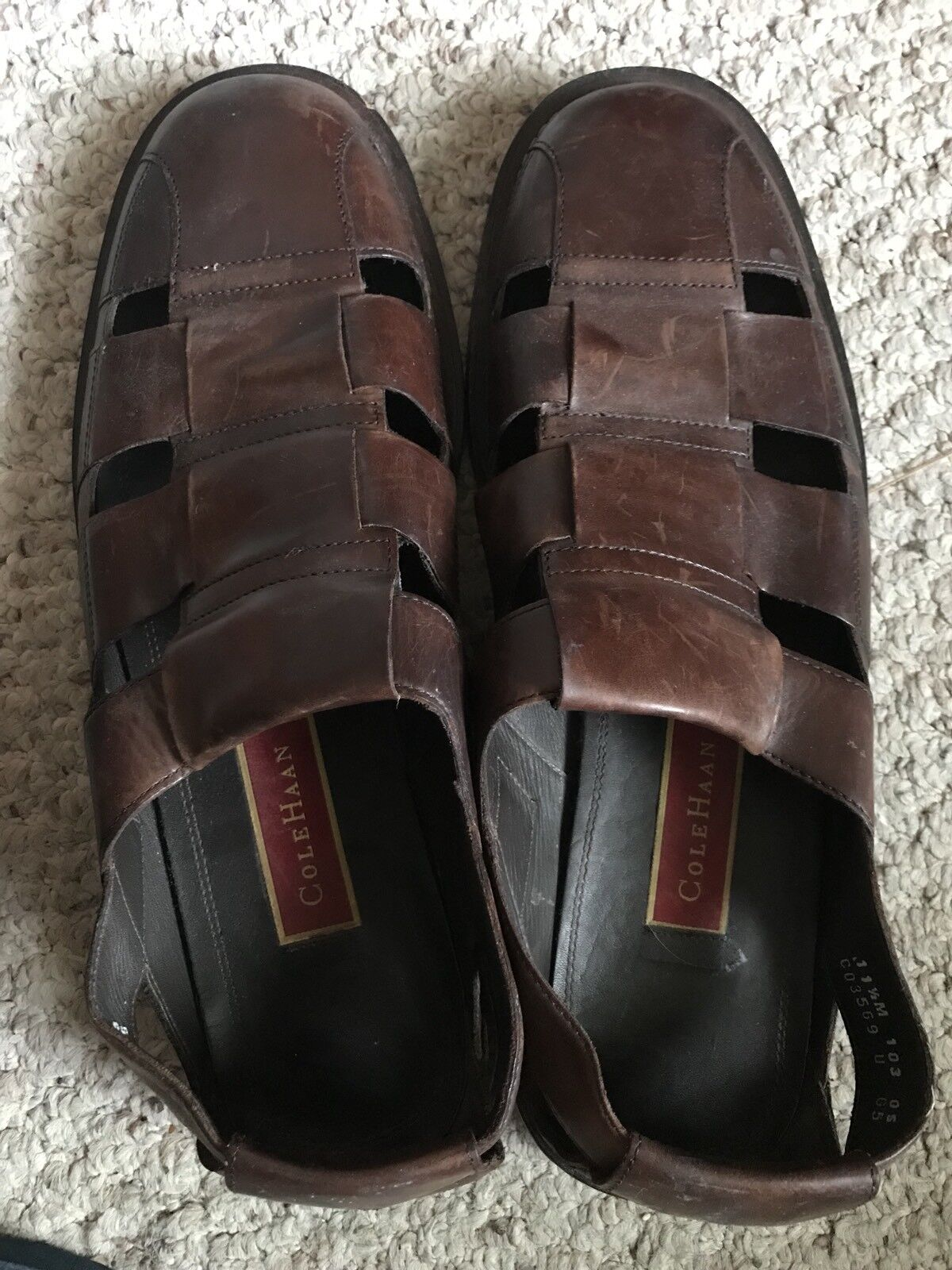 COLE HAAN Uomo's Brown Pelle Pelle Pelle FISHERMAN Sandals 11 1/2M f8bff4
