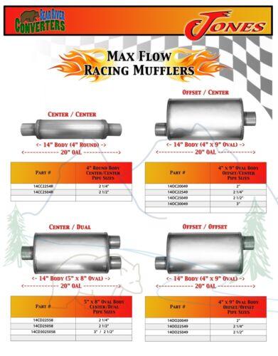 "14OC20049 Max Flow Muffler 14"" Oval Body 2"" Pipe Offset//Center 20"" OAL"