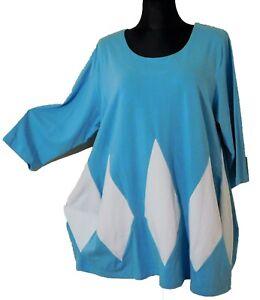 Cotton Freres 46 Eg 48 Shirt Arm Damen Tunika weiss Türkisblau 4 Les 3 BqBUwa4