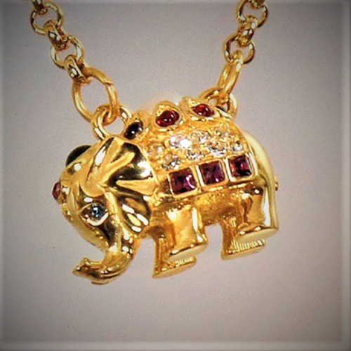 Vintage Signed Joan Rivers Gold Elephant Necklace