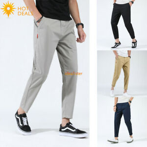 Men-039-s-Casual-Pants-Loose-Baggy-Harem-Taper-Fit-Stretch-Cropped-Pants-Plus-Taille