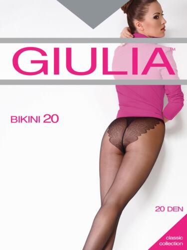 Giulia Bikini 20 Denier Tights 1 Pair Patterned Bikini Brief  XL no back Panel