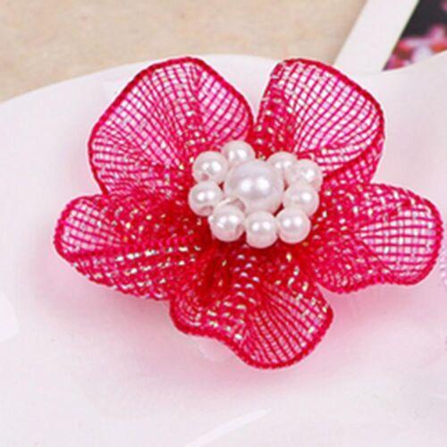 10Pcs Organza Ribbon Flower Bow Pearl For Sewing Appliques Wedding DIY Decor