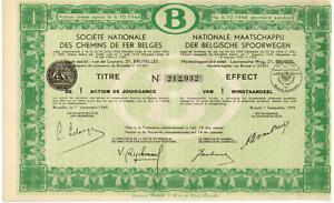 Titre-De-Bourse-NMBS-SNCB-1-Action-De-Jouissance-1-Winstaandeel-1949