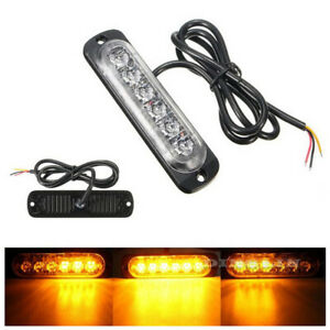 2x-6-Led-Barra-Luz-Flash-emergencia-coche-vehiculo-Warning-Strobe-AMARILLO-AMBAR