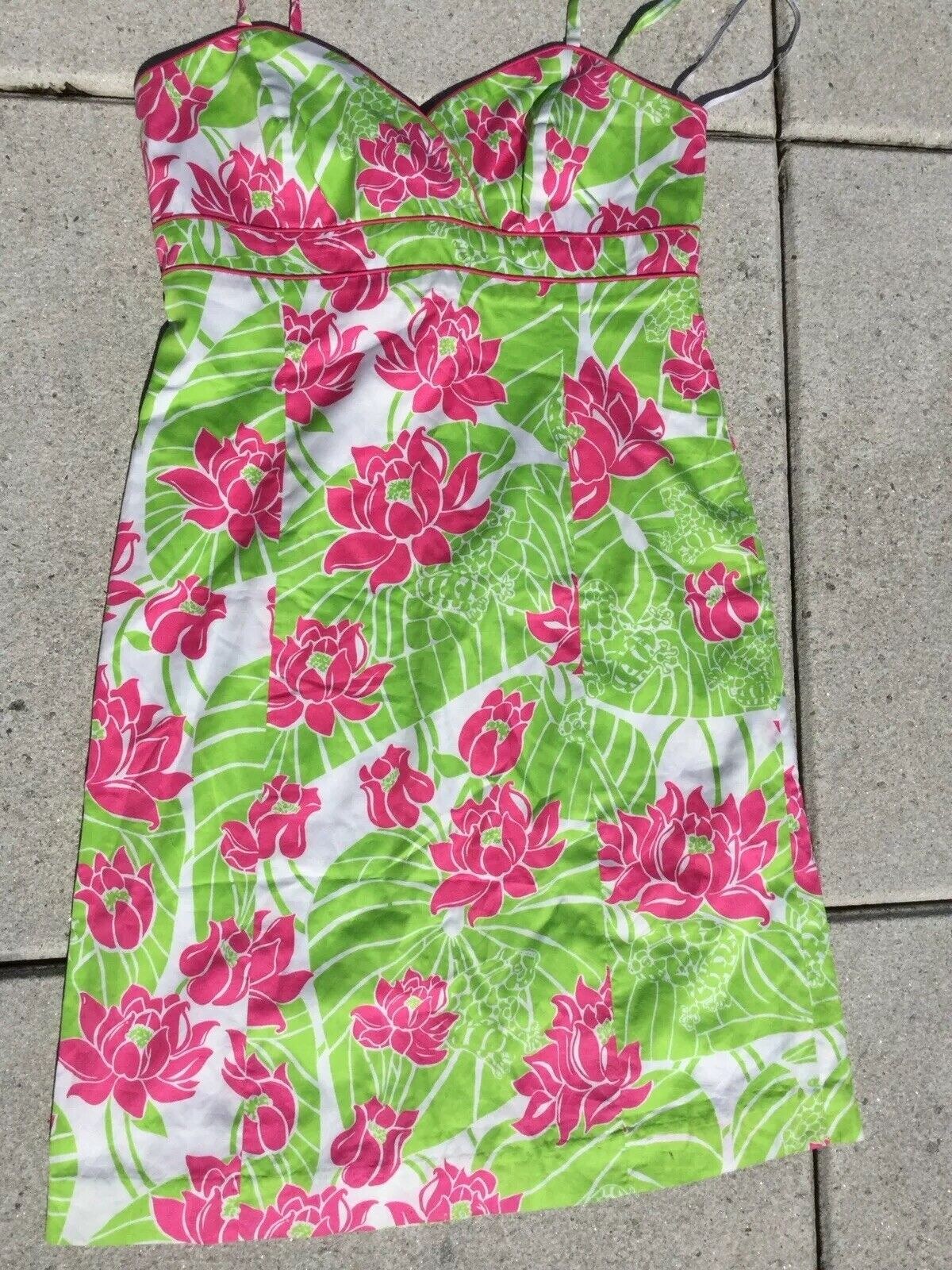 Lilly Pulitzer Frog & Lily Pad Rosa and Grün Sundress  Spaghetti Strap SZ.8