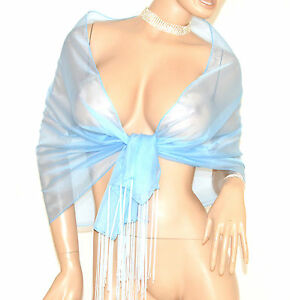 Stola Donna Azzurra Celeste Foulard Velato Frange Seta Scialle Coprispalle E120