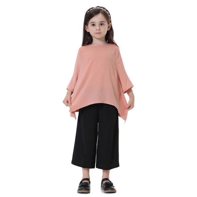 Kids Girls Muslim Long Sleeve Top Harem Pants Set Islamic Costume Loose Outfit