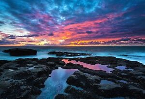 Landscape Poster Sunset Photo Print Scenic Art Reflected Rainbow Sunset