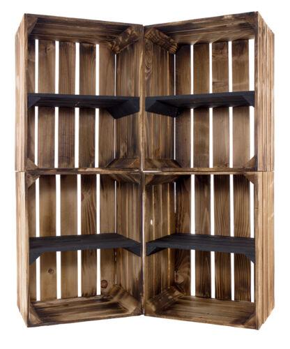 40x30x50cm Stabile und moderne geflammte Obstkiste mit schwarzem Mittelbrett