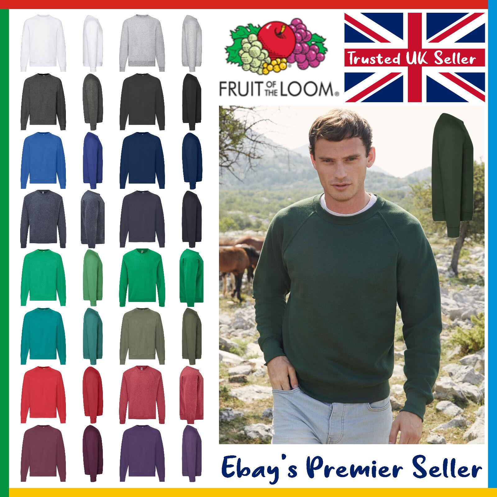 Mens Plain Sweatshirt - Fruit of the Loom Classic Top - Raglan Jumper 17 Colours
