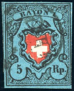 SCHWEIZ-1850-Rayon-I-MiNr-7-II-gestempelt-Attest-Truessel-Mi-480