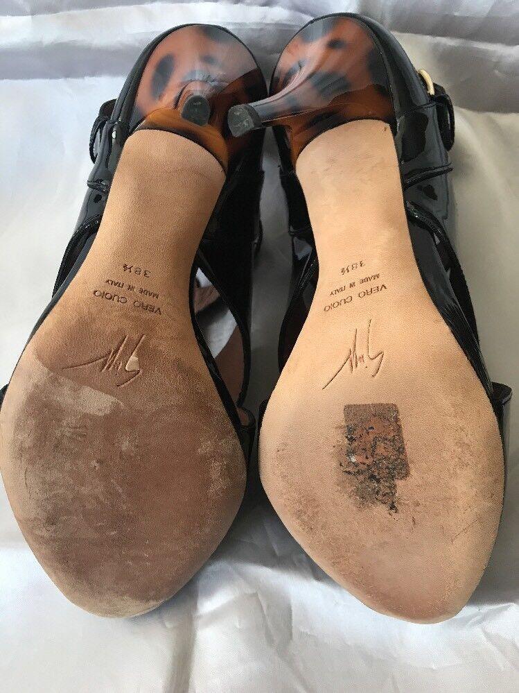 GIUSEPPE HEEL ZANOTTI PATENT LEATHER PEEP TOE LEOPARD HIGH HEEL GIUSEPPE Schuhe Sz 38.5 (8.5) 410e83