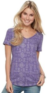 09b6430a4 Women's SONOMA Goods for Life Essential V-Neck Tee Color: Purple ...