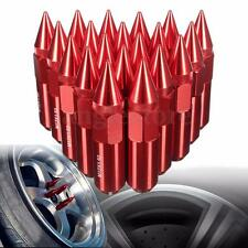 20x Red CNC Aluminum M12X1.5 Wheels Rims Lug Nuts Spiked Modified Extended Tuner