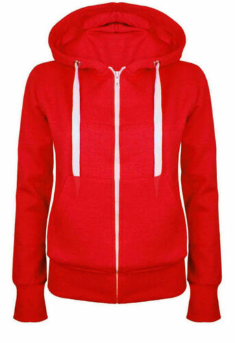 Ladies Girl NEW PLUS SIZE Zip Up Sweatshirt Hooded Hoodie Coat Jacket Top 8-30