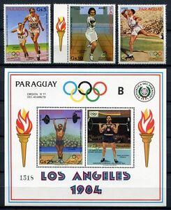 Paraguay-1983-Olympiade-1984-Olympics-Los-Angeles-3629-3631-Block-388-MNH
