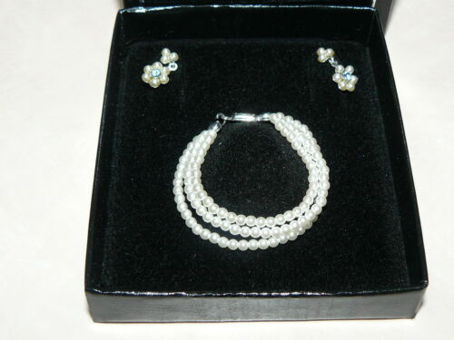 Franklin Mint Faux Pearl Earrings And Necklace For Jackie Kennedy Vinyl Doll
