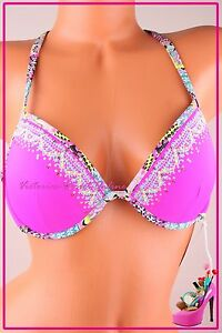 Victoria-039-s-Secret-Swim-Bikini-Top-Fabulous-32B-Push-Up-Plunge-Strappy-Caged