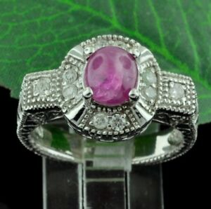 14k-Solid-White-Gold-Natural-Diamond-amp-Cabochon-Ruby-Ring-1-29-ct